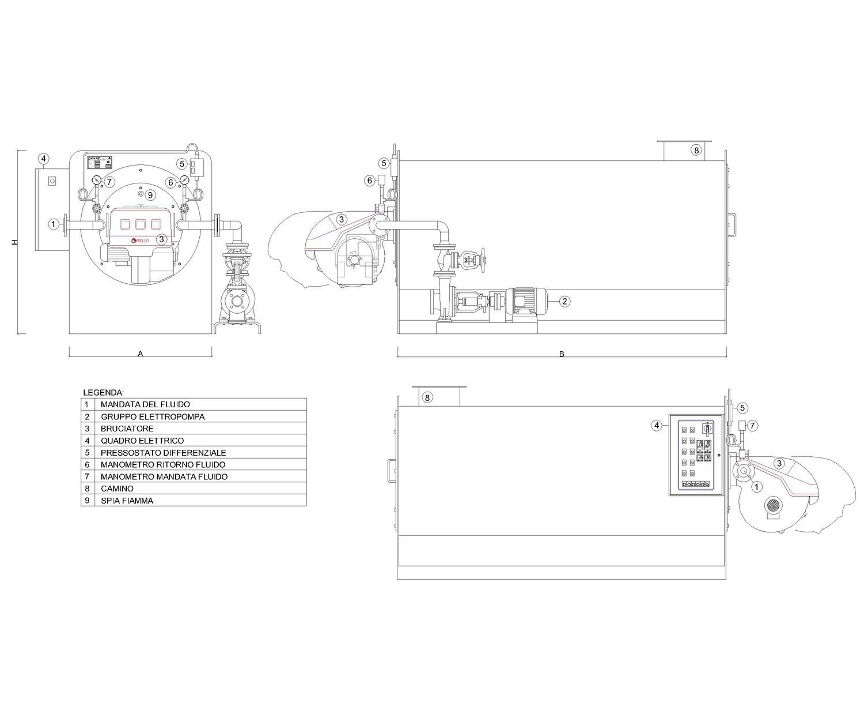 Disegno tecnico caldaia a olio diatermico OMD