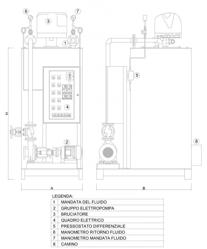 Disegno tecnico della caldaia a olio diatermico OMDV