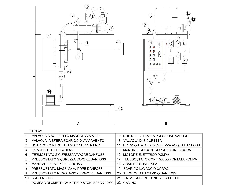 Disegno tecnico del generatore di vapore FB