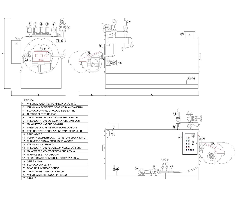 Disegno tecnico del generatore di vapore OMG