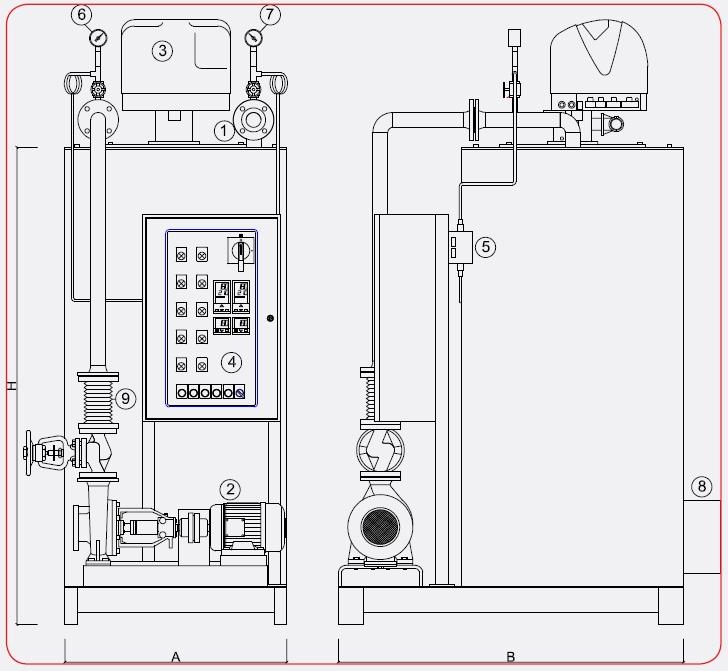 Disegno tecnico caldaia a olio diatermico OMDV