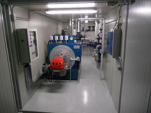 Parte dell'impianto all'interno della centrale termica di vapore